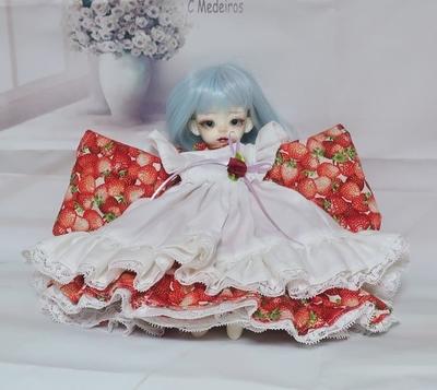 ドール服 イチゴ柄着物ドレス 幼SDサイズ