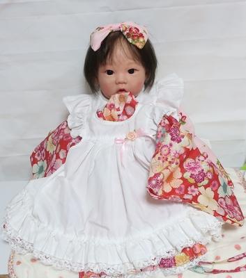 ドール服 赤桜柄着物ドレス 20インチサイズ