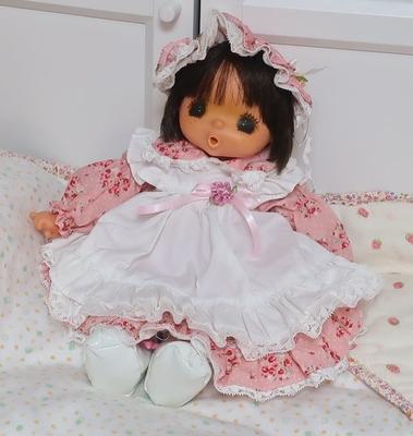 ドール服 ピンク花柄エプロンドレス 小さいジェジェちゃんサイズ 35