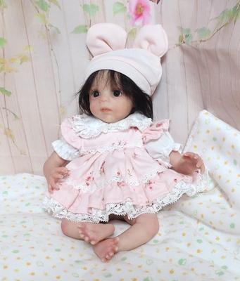 ドール服 ピンク花柄エプロンとパンツ 23㎝サイズ