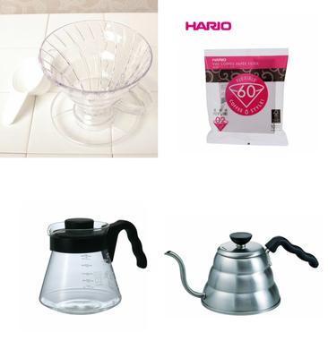コーヒー豆 100g付き V60 ドリッパー サーバー ケトル  ペーパーフィルター4点セット HARIO