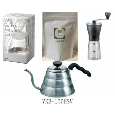 コーヒー豆 100g付き ドリップセット  V60コーヒーブリューイングセット V60ドリップケトル・ヴォーノ コーヒーミル・セラミックスリムのセット  HARIO