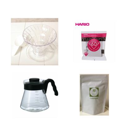 コーヒー豆 100g付き V60ドリッパー サーバー  ペーパーフィルター 3点セット HARIO