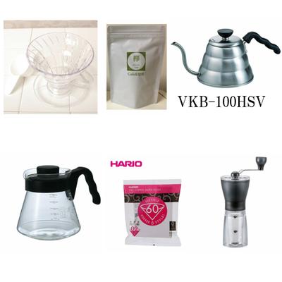 コーヒー豆 100g付き V60 ドリッパー サーバー ケトル  ペーパーフィルター コーヒーミル 5点セット HARIO