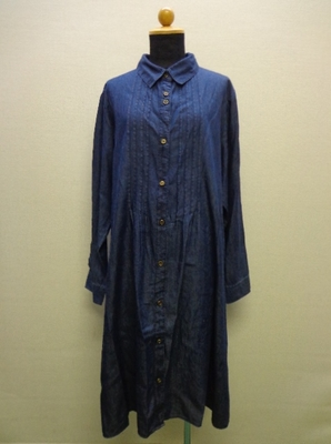 bi abbey -days- ダンガリーワンピース ロングジャケット  長袖ロングシャツ 大きいサイズ インディゴ(3L)