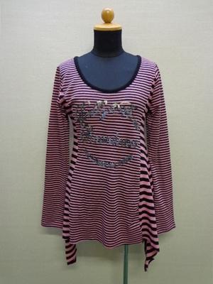 Pendora 裾切りっぱなしカットソー ボーダー柄 スパンコール ピンク&ブラック(L)