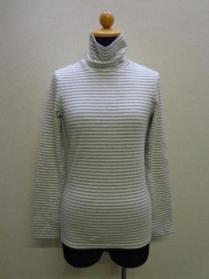 UNIQLO ユニクロ ボーダータートルネック 長袖Tシャツ EXTRA FINE COTTON グレー&ホワイト(M)