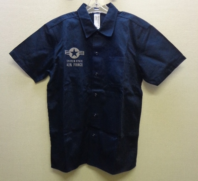 C.A.B.CLOTHING メンズ U.S.AIR FORCE 綿シャツ 半袖 ネイビー