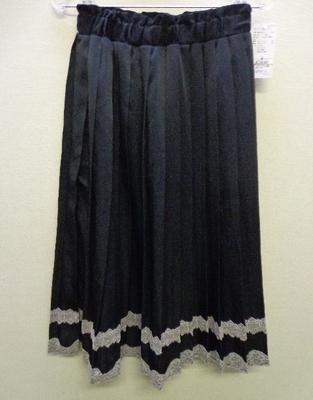 axes femme(アクシーズファム) サテンプリーツロングSK スカート ブラック レース (M)