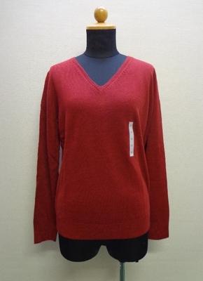 GU ジーユー WOMEN カシミヤタッチ Vネックセーター 長袖 RED (M)