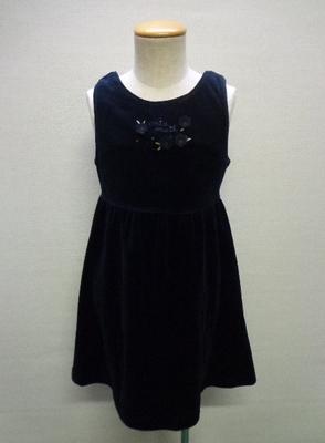 子供服 MIAMAIL ミアメール ジャンパースカート ベルベット調 バックリボン付き ブラック(120)