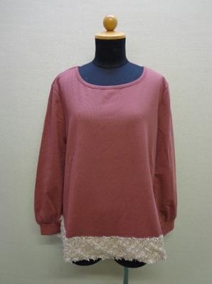 KOBE LETTUCE 神戸レタス 裾ツイードリブトップス ピンク(M) C3517