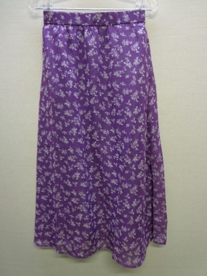 WEGO STANDARD ウィゴー シアーパターンロングスカート 小花柄 紫色系(L)