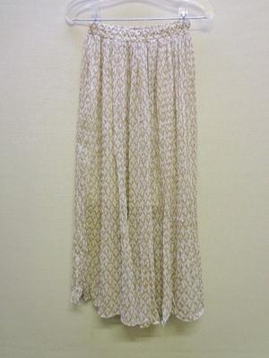 KOBE LETTUCE 神戸レタス リーフ柄デザインプリーツスカート ベージュ M2467