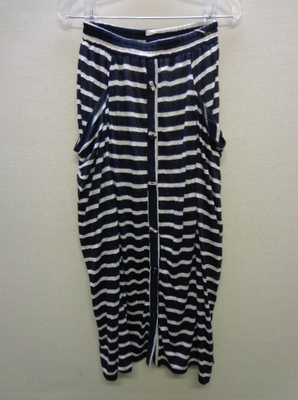 K&G INTERNATIONAL KURICA ボーダーロングスカート ドレープ ブラック&オフホワイト(F)