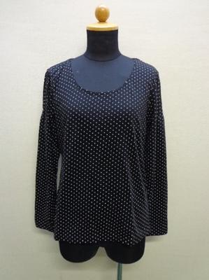 nissen,STYLE 長袖Tシャツ ドット柄 ブラック系(L)