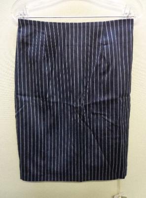 K&G INTERNATIONAL KURICA ダブルストライプタイトスカート ネイビー&ホワイトストライプ(M)