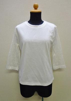 神戸レタス 袖シアーデザイントップス 七分袖 オフホワイト(M) C3461