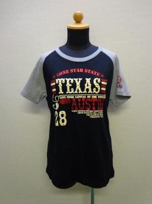 Peace Mountain レディースTシャツ ラグラン スタッズ付き グレー&ブラック系(L)