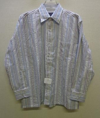 Mac Beth マクベス メンズ ロールアップシャツ 長袖 綿混 ストライプ(M)