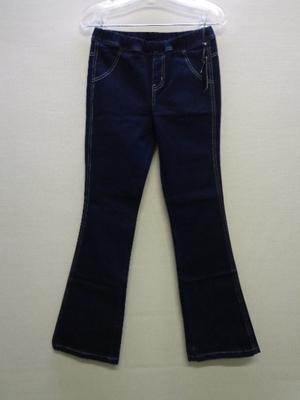 Luv4ever デニムパンツ ブーツカット ウエストゴム&紐付き 濃紺色系(M)