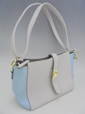 Sens de vie バイカラーポーチ付きバッグ 3WAY セパレートバッグ グレー&水色系