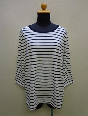 Trance Avenue ボーダーTシャツ Vカット入りロールアップ(折り上げ)袖 ホワイト系(M~L)