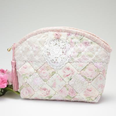 AP470.レースと薔薇のフェミニンポーチ(桜色)