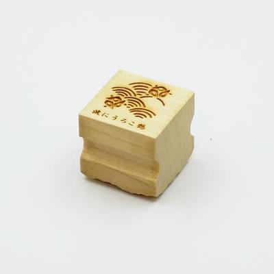 Karakami stamp 四季波にうろこ鶴