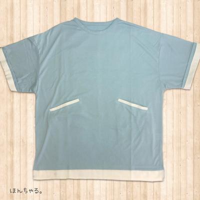 バックプリントTシャツ風チュニックサックス