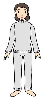 裏返し縫製ladiesオーダーパジャマ(袖ポケット無し)ナチュラル色フリーサイズ