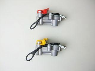 5-2 エアーストップ弁付カプラ/赤黄セット/ゴムカバータイプ