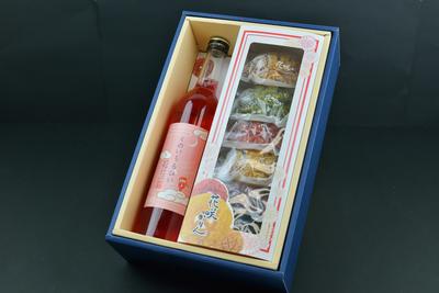 【くのいちるびぃ&花咲かりんセット】赤紫蘇リキュールと色とりどりの菓子が華やか