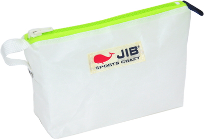 JIB フィンガーポーチ FPO22 ホワイト×蛍光グリーンファスナー/ネイビーみみ