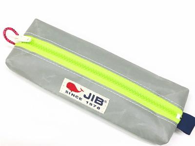 JIB ペンケースM PCM16 グレー×蛍光グリーンファスナー