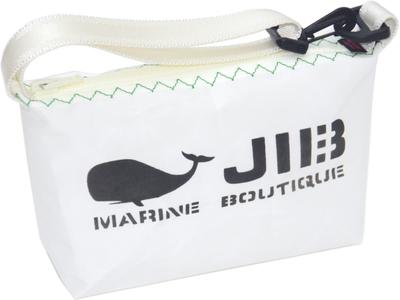 JIB ハンドルポーチS HPOS26 ホワイト×グリーンステッチ