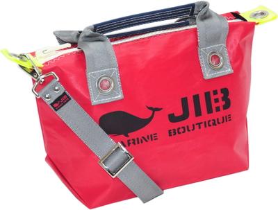 JIB セット販売 FTSS53+SB25MM20 ファスナートートSSレッド×グレー+25mm幅無地ショルダーベルト