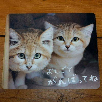 マウスパッド / ラバーマット スナネコ  「おしごとがんばってね」 【Original】