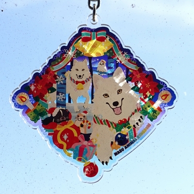 【数量限定】両面イラストアクリルキーホルダーChristmasVersionオオカミ兄妹 「オオカミの丘のクリスマス」【Original】