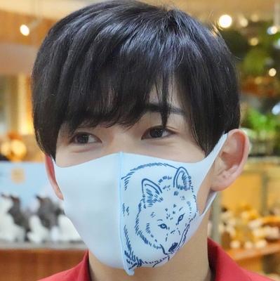 どうぶつマスク ホッキョクオオカミ アイスグレイ(薄い水色) 【Original】