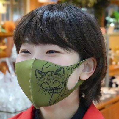 どうぶつマスク スナネコ カーキ 【Original】子供サイズあり