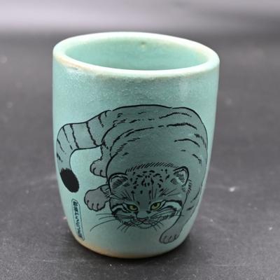 益子焼の湯呑 マヌルネコ 緑 【オリジナル】