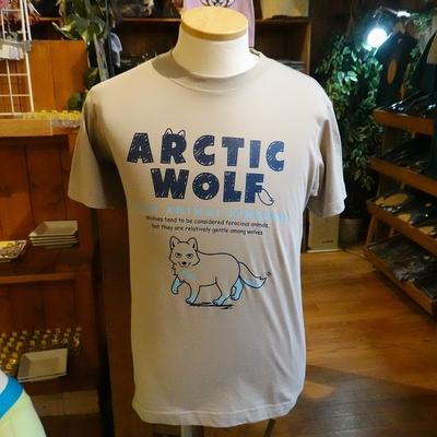 スケッチ ホッキョクオオカミ オーガニックコットン100%Tシャツ ミルキーグレイ【Original】