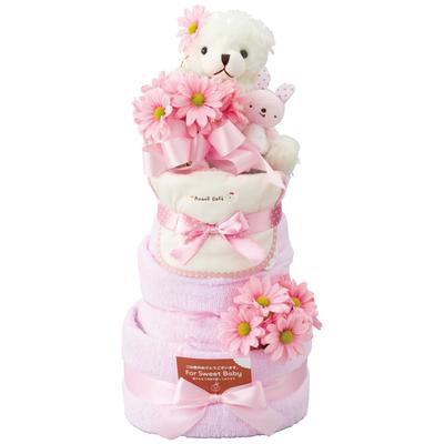 おむつケーキ3段 ピンク