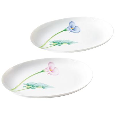 香蘭社 カラーリリー ペア楕円皿