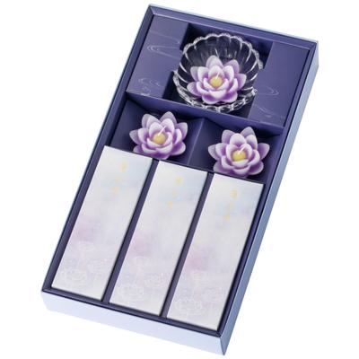 蓮水香 線香・ローソクセット 紫