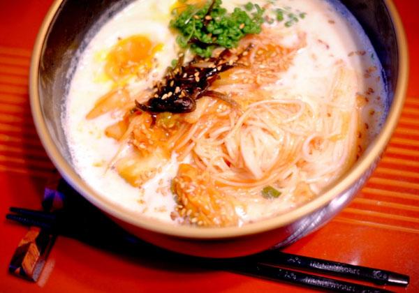 トマトキムチ素麺豆乳スープ
