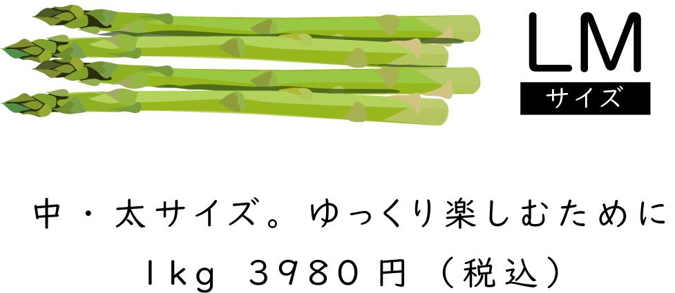 「LMサイズ」中・太サイズゆっくり楽しむために1kg3980円(税込)