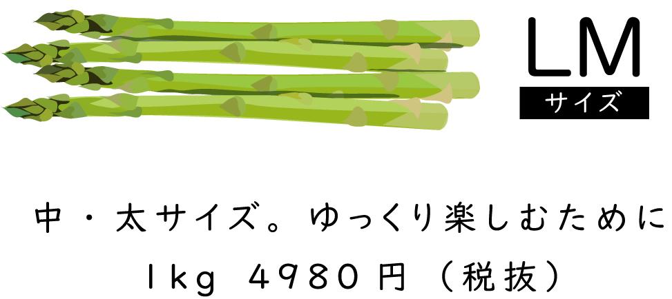 「LMサイズ」中・太サイズ。ゆっくり楽しむために1kg4980円(税抜)