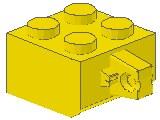 %30389a ヒンジブロック[黄]2x2(ロック、指1本、軸穴無)